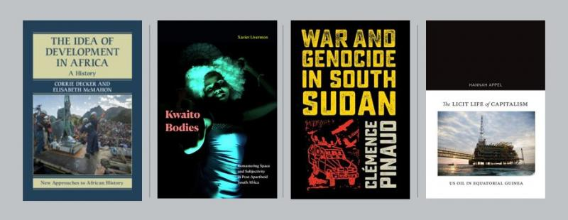 4 book covers representing talks from the Spring 2021 Africa Matters series