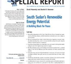 Cover of USIP Report on South Sudan's Renewable Energy Potential