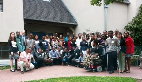 YALI and MCF Scholars in front of Goldman School of Public Policy